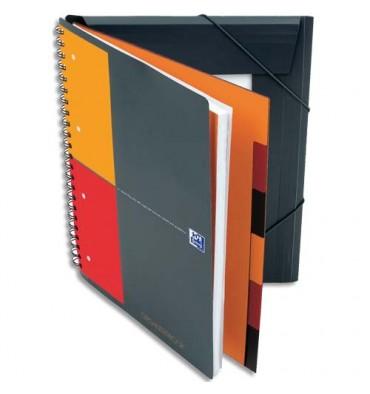 OXFORD Cahier ORGANISERBOOK Couverture polypropylène orange à spirale 160 pages perforées 80g ligné 6 mm 21 x 31,8 cm