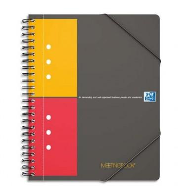 OXFORD Cahier MEETINGBOOK couverture polypropylène gris spirales 160 pages perforées 80g 5x5 21 x 31,8 cm