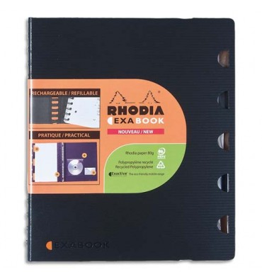 RHODIA Cahier rechargeable EXABOOK spirale 160 pages 90g 5x5 16 x 21 cm Couverture polypropylène noire