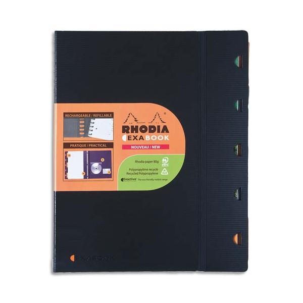 RHODIA Cahier rechargeable EXABOOK spirale 160 pages 90g 5x5 22,5 x 29,7cm Couverture polypropylène noire