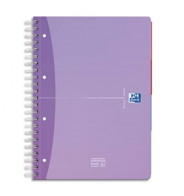 OXFORD Beauty Cahier reliure intégrale EUROPEAN BOOK A5+ 240 pages 5x5 - assortis