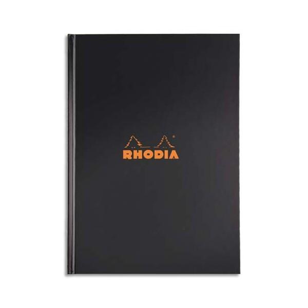 RHODIA Cahier brochure rembordée RHODIActive A4, 192 pages non perforées 5x5. Couverture noire