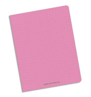 NEUTRE Cahier piqûre 96 pages Seyès 17 x 22 cm. Couverture polypropylène rose