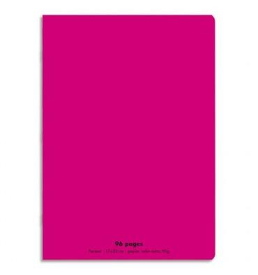 CONQUERANT Cahier piqûre 96 pages Seyès 21 x 29,7 cm. Couverture polypropylène rose