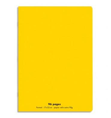 NEUTRE Cahier piqûre 96 pages Seyès 17 x 22 cm. Couverture polypropylène jaune
