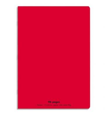 NEUTRE Cahier piqûre 96 pages Seyès 17 x 22 cm. Couverture polypropylène rouge