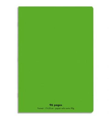 NEUTRE Cahier piqûre 96 pages Seyès 17 x 22 cm. Couverture polypropylène vert