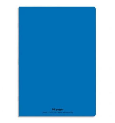 CONQUERANT Cahier piqûre 96 pages Seyès 21 x 29,7 cm. Couverture polypropylène bleu