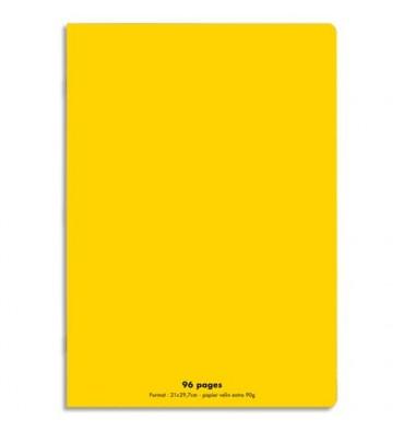 CONQUERANT Cahier piqûre 96 pages Seyès 21 x 29,7 cm. Couverture polypropylène jaune