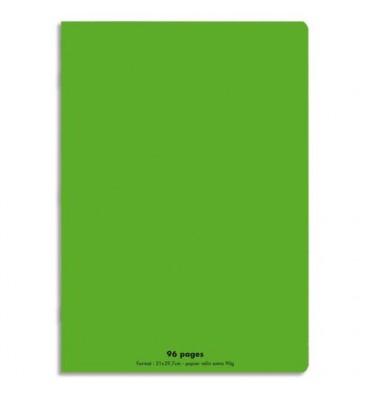 NEUTRE Cahier piqûre 96 pages Seyès 21 x 29,7 cm. Couverture polypropylène vert