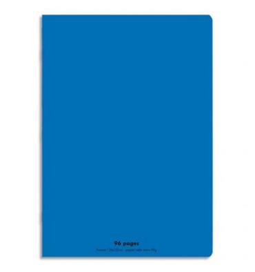 NEUTRE Cahier piqûre 96 pages Seyès 24 x 32 cm. Couverture polypropylène bleu