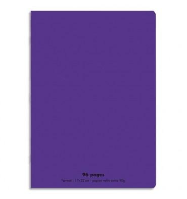 NEUTRE Cahier piqûre 96 pages Seyès 17 x 22 cm. Couverture polypropylène violet
