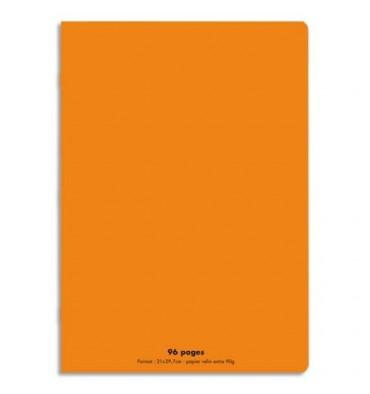 NEUTRE Cahier piqûre 96 pages Seyès 21 x 29,7 cm. Couverture polypropylène orange