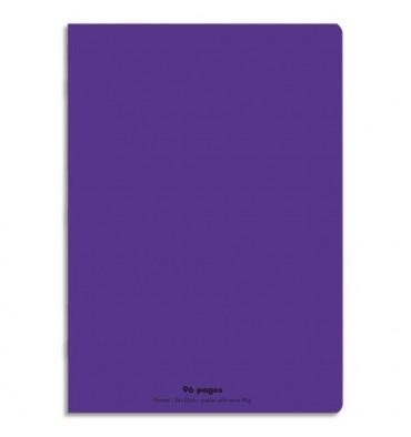 NEUTRE Cahier piqûre 96 pages Seyès 24 x 32 cm. Couverture polypropylène violet