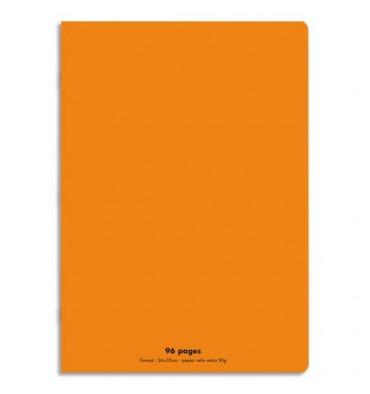 NEUTRE Cahier piqûre 96 pages Seyès 24 x 32 cm. Couverture polypropylène orange
