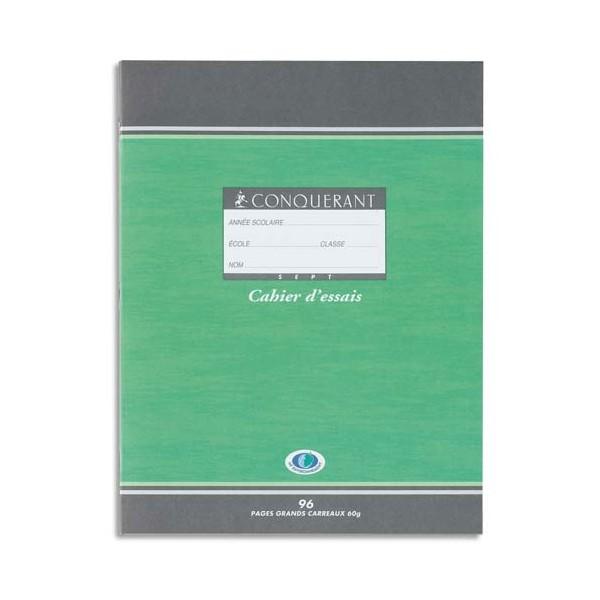 CONQUERANT SEPT BY HAMELIN Cahier d'essais 17 x 22 cm 48 pages grands carreaux papier 60g NF 32