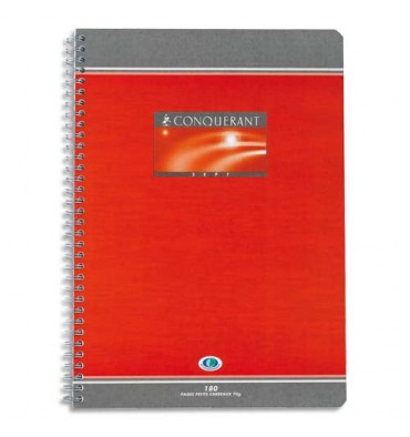 CONQUERANT SEPT BY HAMELIN Cahier reliure spirale 17 x 22 cm 180 pages grands carreaux papier 70g