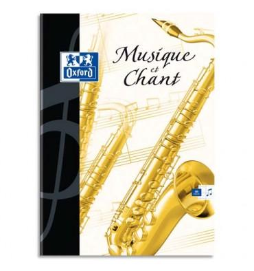 OXFORD Cahier de musique ESSENTIAL piqûre 24 pages Seyès + 24 pages portées 24 x 32 cm. Couverture carte