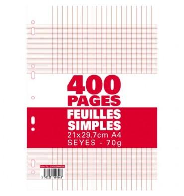 NEUTRE Etui filmé feuillets mobiles perforées 400 pages Seyès 21x29,7 cm Papier blanc