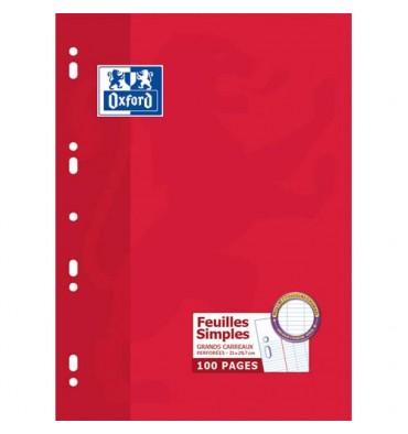 OXFORD Etui carton feuillets mobiles 21x 29,7 cm 100p Seyès blancs 90g