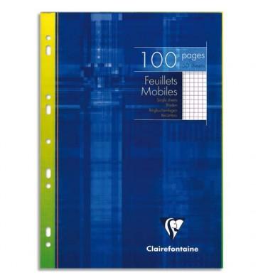 CLAIREFONTAINE Feuillets mobiles 21 x 29,7 cm 100 pages petits carreaux blancs 90g - Sous étuis carton