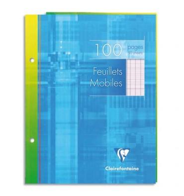 CLAIREFONTAINE Feuillets mobiles 21 x 29,7 cm 200 pages petits carreaux blancs 90g - Sous étuis carton