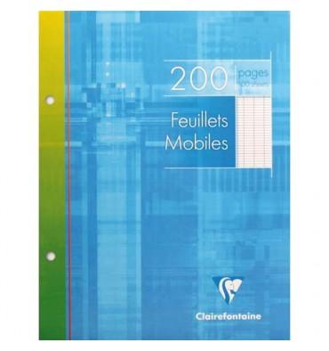 CLAIREFONTAINE Feuillets mobiles 17 x 22 cm 200 pages grands carreaux blancs 90g - Sous étuis carton