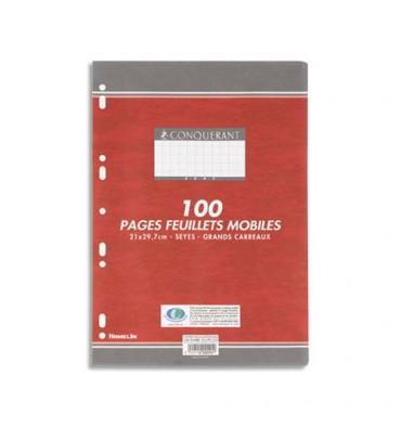 CONQUERANT 7 BY HAMELIN Feuillets mobiles 21 x 29,7 cm 100 pages grands carreaux blancs 80g - Sous étuis