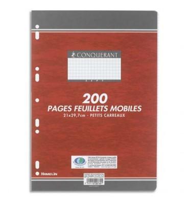 CONQUERANT 7 BY HAMELIN Feuillets mobiles 21 x 29,7 cm 200p petits carreaux blancs papier 90g