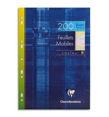 CLAIREFONTAINE Etui 200 feuillets mobiles A4 seyès coloris assortis