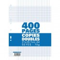 NEUTRE Etui filmé copies doubles perforées 400 pages Seyès 21x29,7cm 70g Papier blanc