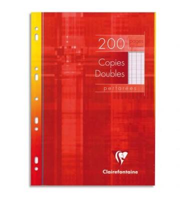 CLAIREFONTAINE Copies doubles perforées blanches 21 x 29,7 cm 200 pages Seyès 90g Sous étuis carton