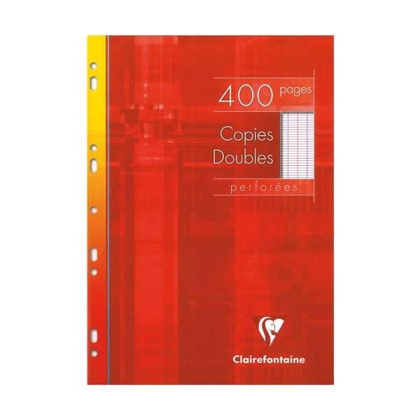 CLAIREFONTAINE Copies doubles perforées blanche 21 x 29,7 cm 400 pages Seyès 90g- Sous étuis carton