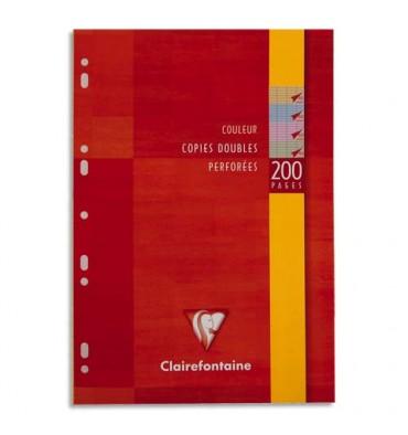 CLAIREFONTAINE Etui 200 copies doubles perforées A4 seyès coloris assortis