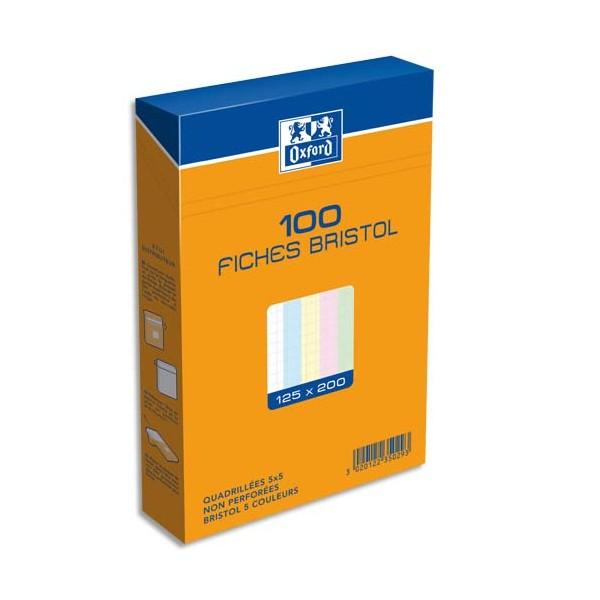 OXFORD Boîte de 100 fiches bristol 12,5 x 20 cm 5x5 assortis non perforées
