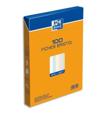OXFORD Boîte de 100 fiches bristol 21 x 29,7 cm 5x5 assortis non perforées