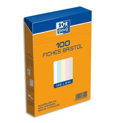 OXFORD Boîte de 100 fiches bristol non perforées, 14,8 x 21 cm - 5x5 coloris assortis