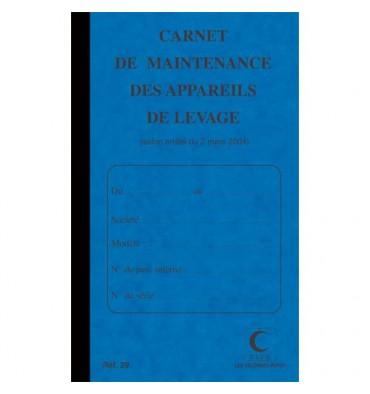 ELVE Piqûre 32 pages carnet maintenance pour appareil de levage folioté de 1 à 15. Format 21 x 13 cm