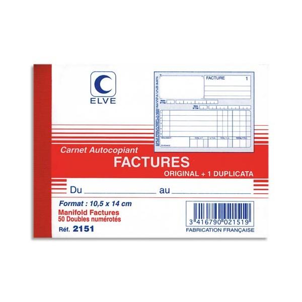 ELVE Manifold autocopiant facture format 10,5 x 14 cm, 50 feuillets dupli