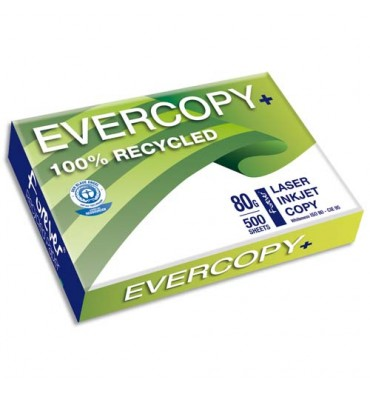 CLAIREFONTAINE Ramette de 500 feuilles A4 80g, papier 100% recyclé blanc Evercopy + CIE 95