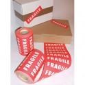 Rouleau de 1000 étiquettes imprimées FRAGILE blanc fond rouge - 150 x 42,5 mm
