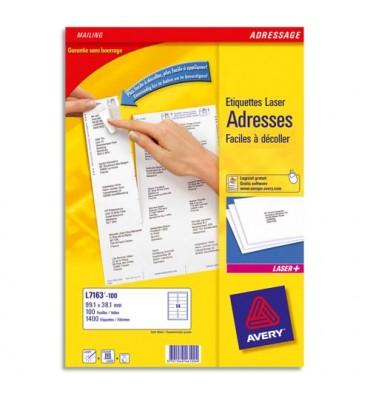 AVERY Boîte de 2100 étiquettes laser blanc 63,5 x 38,1 mm L7160-100