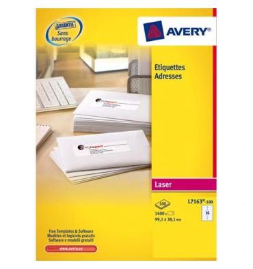 AVERY Boîte de 1400 étiquettes laser blanc 99,1 x 38,1 mm L7163-100