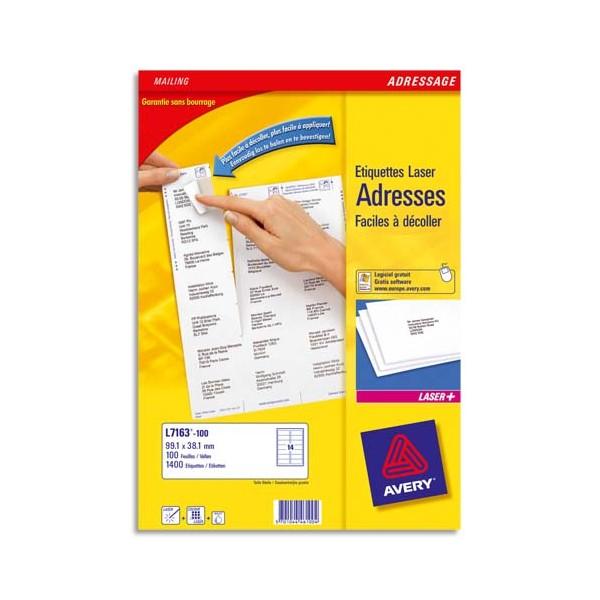 AVERY Boîte de 1200 étiquettes laser blanc 99,1 x 42,3 mm L7177-100