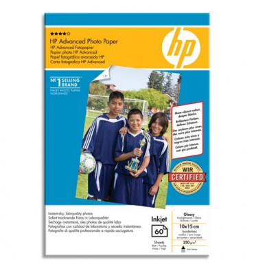 HP Pack de 25 feuilles de papier photo brillant sans bord 250g 10 x 15 cm