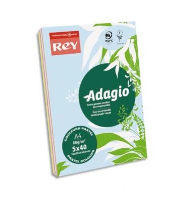 REY BY PAPYRUS Ramette 40 feuilles x 5 teintes ADAGIO 80g format A4 assortis pastel et vif