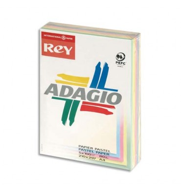 REY BY PAPYRUS Ramette 100 feuilles x 5 teintes ADAGIO 80g format A4 assortis pastel et vif