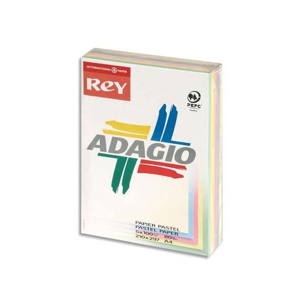 REY BY PAPYRUS Ramette 100 feuilles x 5 teintes ADAGIO 80g format A4 assortis pastel et vi
