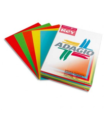 REY BY PAPYRUS Ramette 50 feuilles x 5 teintes ADAGIO 160g format A4 assortis intenses