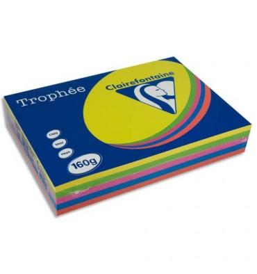 CLAIREFONTAINE Ramette 5x50 feuilles papier Trophée 160g A4 assortis intense